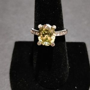 Silver Ring Yellow Stone & CZ